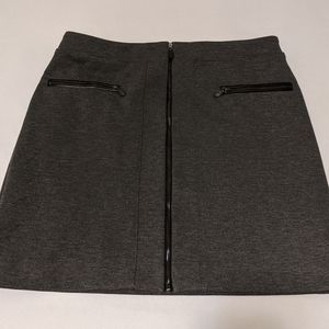 Grey mini skirt with zippers